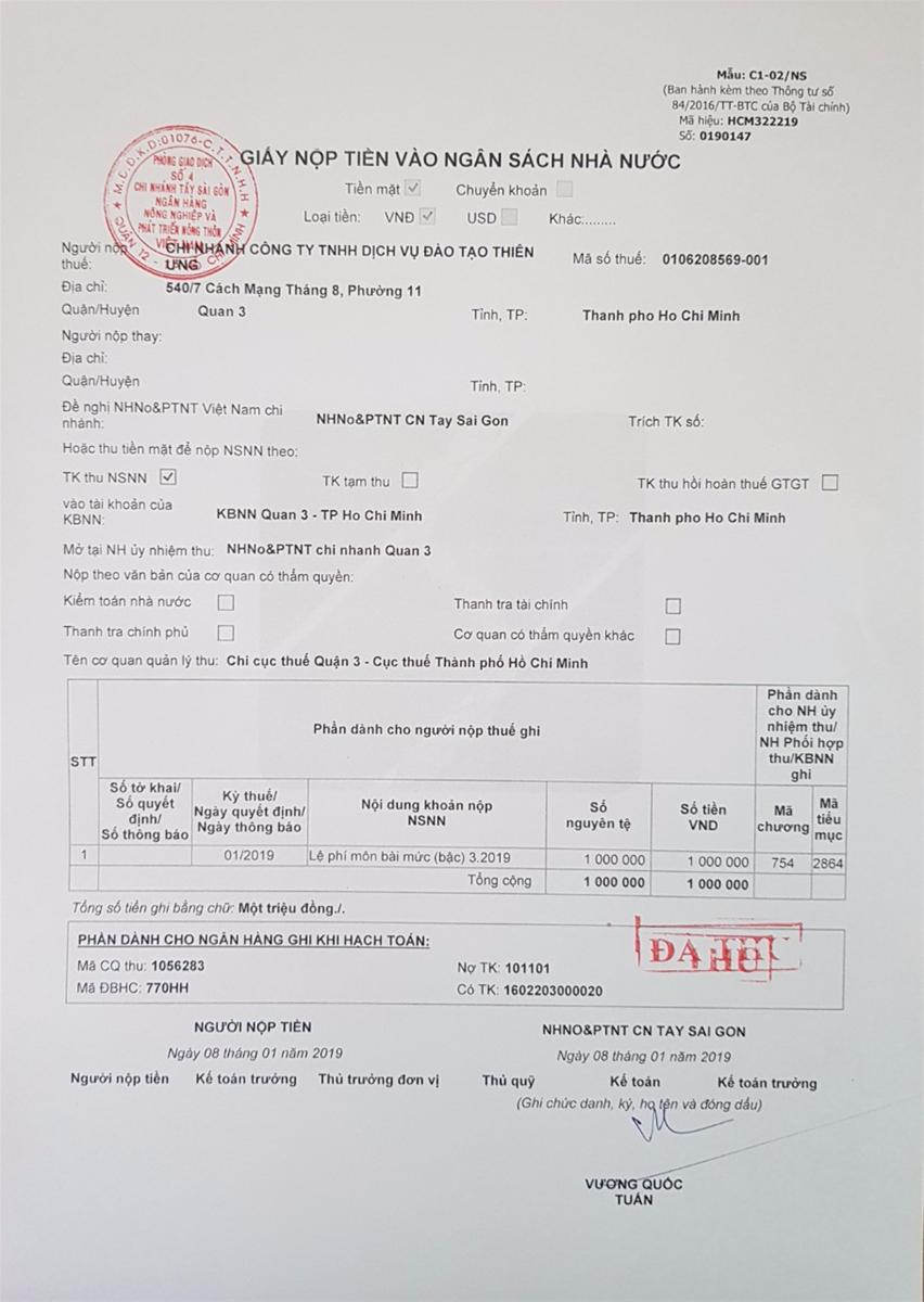 Mẫu giấy nộp tiền vào Ngân sách nhà nước mới nhất 2019