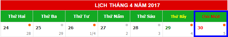 Lịch nghỉ 30/4