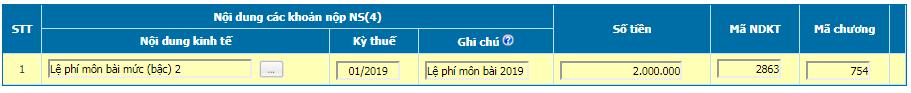 Nộp tiền lệ phí môn bài bằng điện tử